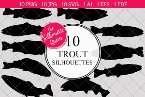 Trout silhouette vector graphics