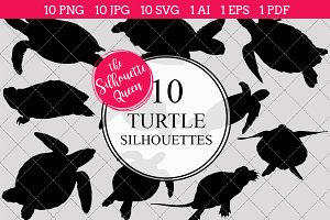 Turtle silhouette vector graphics