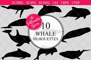 Whale silhouette vector graphics