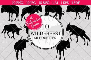 Wildebeest silhouette vector graphic