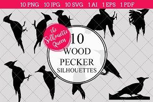 Wood pecker silhouette vector graphi