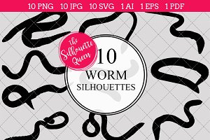 Worm silhouette vector graphics