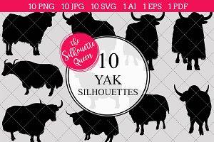 Yak silhouette vector graphics
