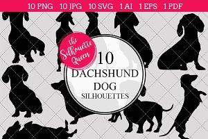 Dachshund Dog silhouette vector grap