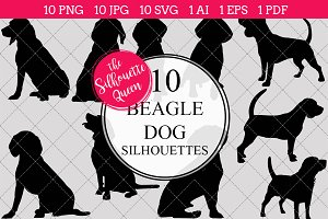 Beagle Dog silhouette vector graphic