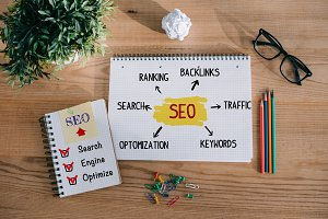 top view of notebooks with SEO plan