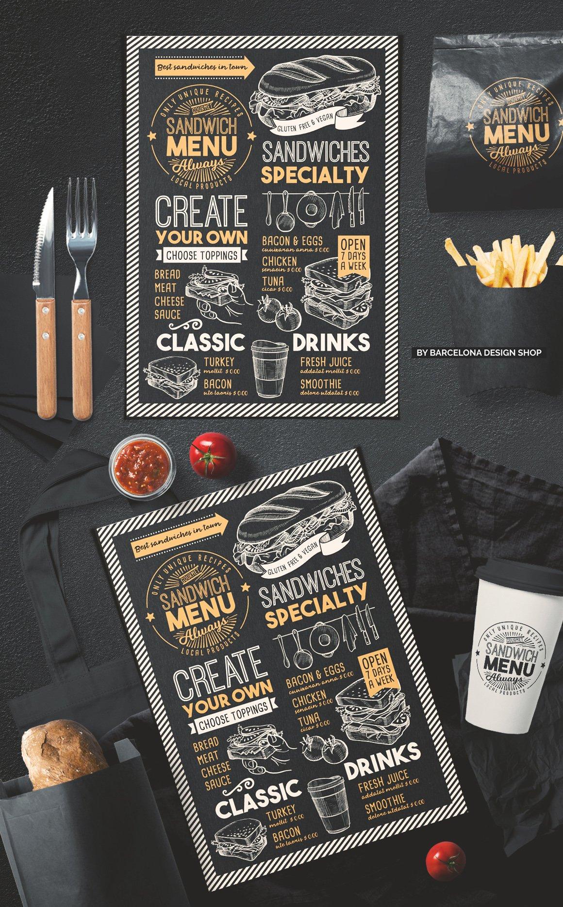 Sandwich Food Menu ~ Brochure Templates ~ Creative Market