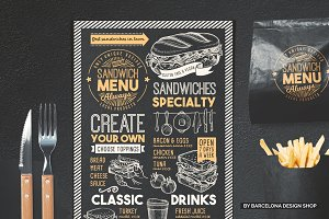 FREE! Trifold + Sandwich Food Menu