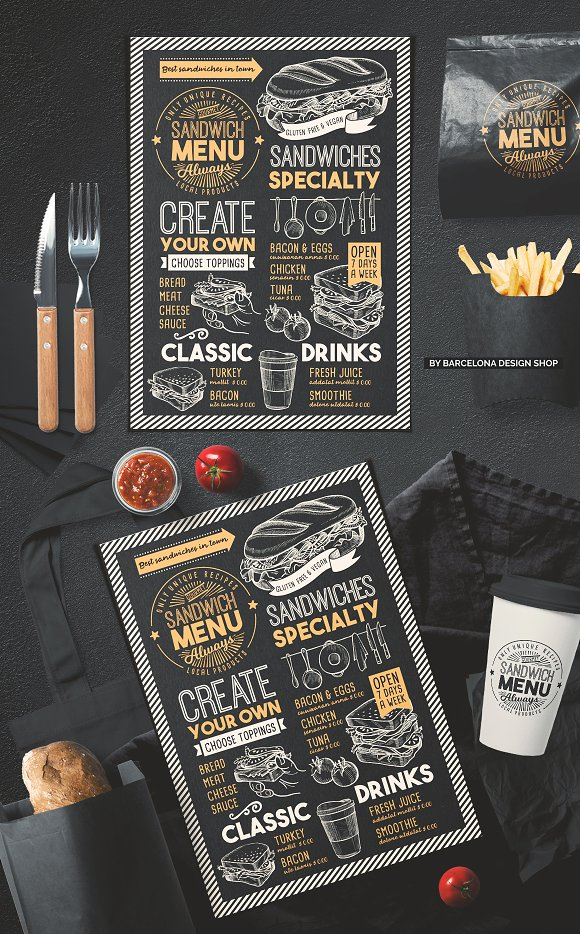 sandwich food menu brochure templates creative market