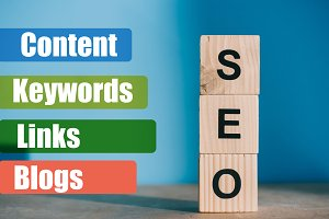 SEO word made from wooden blocks on