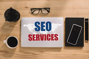top view of SEO services and world m