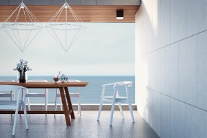 Beach dining room on Sea view / 3d r