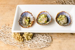 Grilled limpets, typical snack of Ca