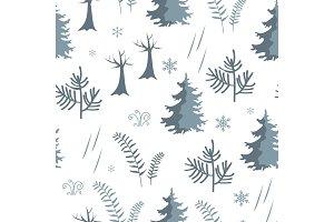 Seamless forest pattern. Fir trees
