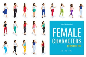 24 Trendy isometric female character