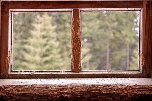 Two wooden windows. Window.