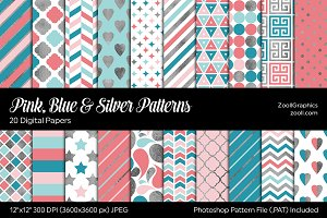 Pink, Blue & Silver Digital Papers