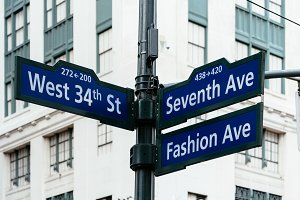 Road signs in Midtown of New York