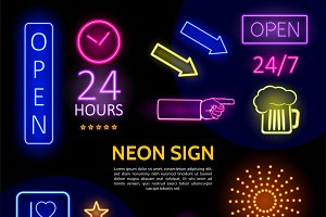 Electric neon signs template