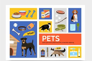 Flat pet shop infographic concept