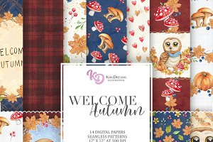 Welcome Autumn Digital Paper