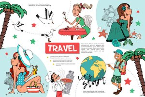 Flat travel infographic template