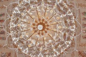Close up of golden chandelier lamp
