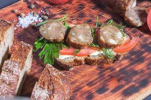 A sausage sandwich. Homemade sausage