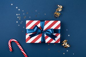 Gift box with blue ribbon decorated