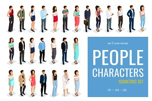 Isometric people in modern clothing