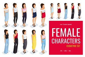 12 Trendy isometric female character