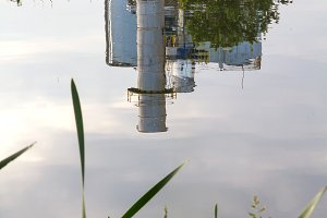 Factory reflected on the water
