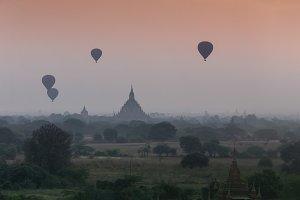 Hot air balloon over plain of Bagan