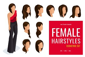 Isometric set of female hairstyles