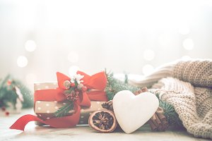 festive background with heart and gi