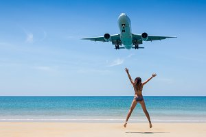 Travel concept. Young woman in
