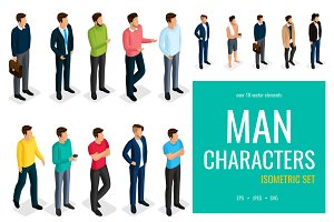 18 Trendy isometric men characters