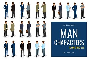 24 Trendy isometric men characters