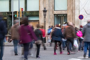 Defocused people in a big city