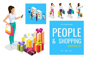 Isometric people on shopping