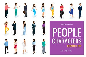 20 isometric people characters