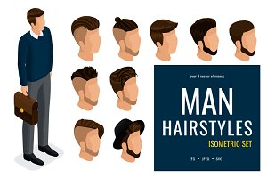 Isometric set of man hairstyles