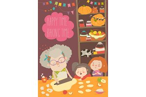 Grandmother and kids bake together