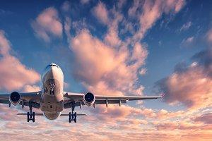 Landing passenger plane