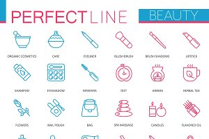 Spa Beauty cosmetic thin line icons