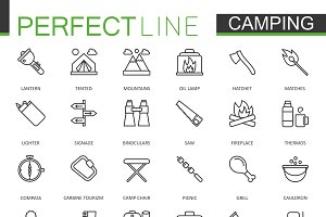 Hiking and camping line icons set