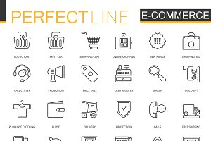 E-commerce shopping line icons set