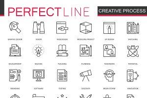 Creative process line icons set