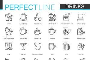 Drinks thin line icons set