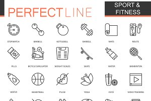 Sport and fitness line icons set